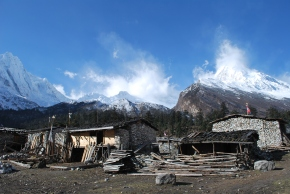 A small village which sits in the shadow of Mt Mansalu (8,156m), the eighth heighest mountain in the world. The village is really only occupied during the winter when the villages higher up trail migrate due to the harsh weather conditions.