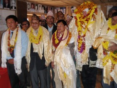 One of many incredible welcomings at Bhamti Bhanda school