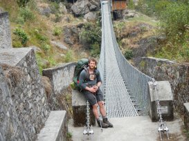 Checking on a KAAA bridge in the Kanchenjunga National Park