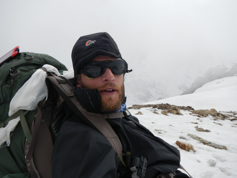 Looking tired but happy as I finally reach the top of the Lumbha Sumba Pass (5130m) after crossing two other 5100+m passes to get this far.  The clouds were coming in fast causing problems with visibility.  A large storm followed too.
