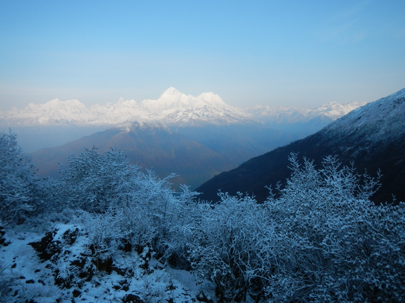 Morning view of Tibet from a ridge-line the Kanchenjunga National Park on the way to the village of Chyamtang