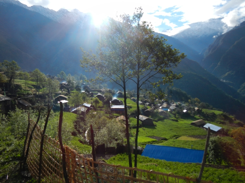 The very friendly village of Chyamtang in the northern part of the Arun Valley.  After spending 5 nights wild camping int he moutons this village was a welcomed change.