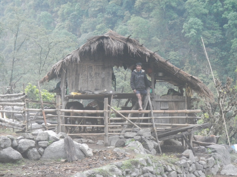 A small bamboo hut in the middle of the jungle at the edge of the Arun River.  After getting caught out by another storm the farmer was very kind and let me stay here overnight.