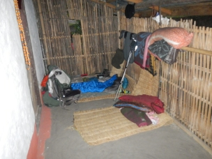 An example of a 'Home Stay', sleeping on a veranda. But at least it was safe, dry and clean.