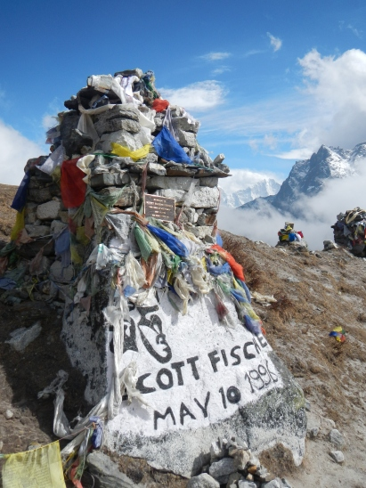A memorial for Scott Fischer the US climber who died on Everest on 11 May 1996