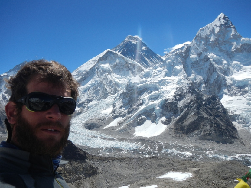 At the top of Kala Patthar (5555m) looking directly at Everest (8848m), Lohtse (8516m) and Nupste (7861m)