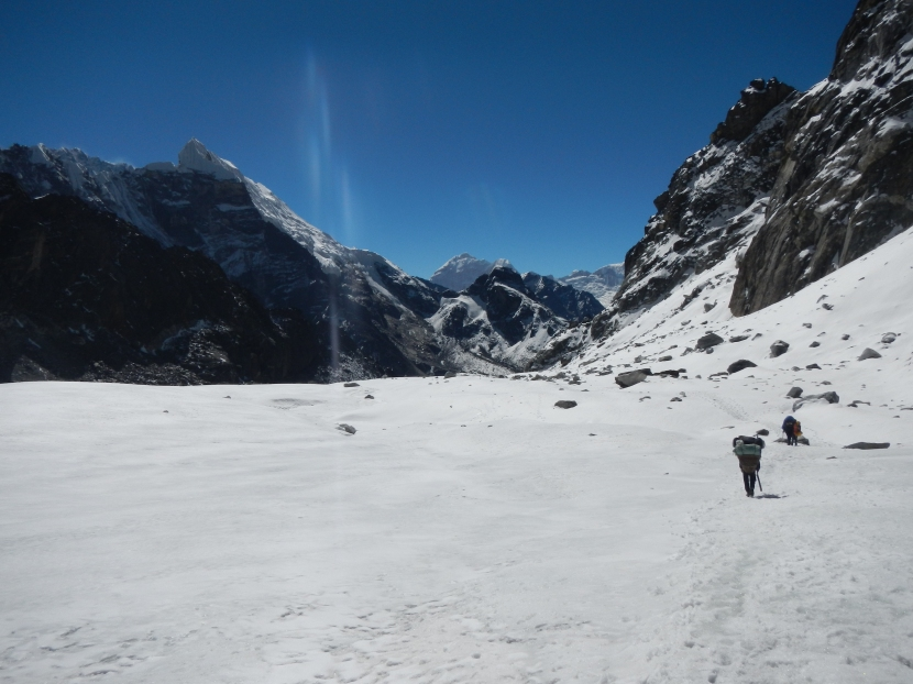The route to the Cho La Pass 5421m.