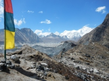 The view of the route across the glacier and the route to Gokyo. Also Cho Oyu, 8201m, the worlds sixth highest mountain can be seen in the background