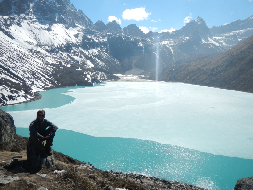 The sacred green glacial Gokyo Lake.