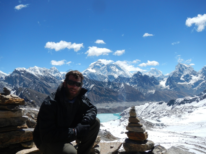 The view from the Renja La Pass (5345m) looking towards Everest in the background.