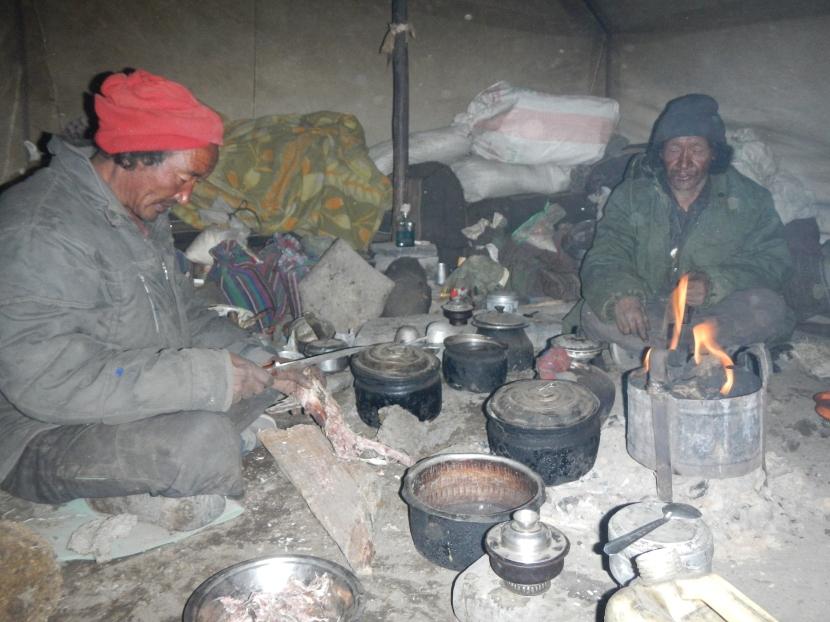 The very kind yak herders preparing dinner